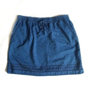 J. Crew skirt, size M, blue embroidered detailing